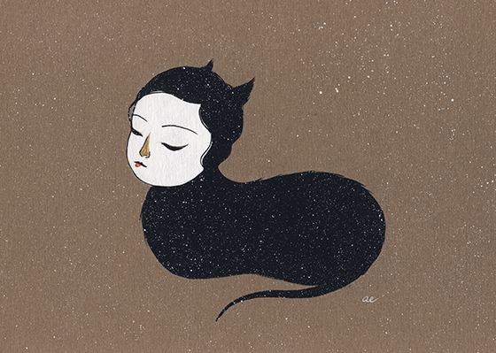 Saw You Dreaming by Amy Earles - gouache & gold acrylic on tinted paper
