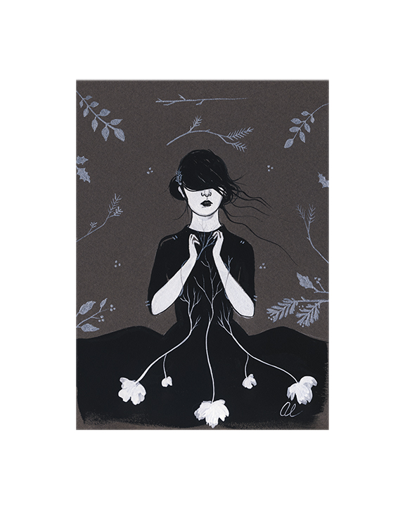 Trying to Grow in the Dark by Amy Earles (SOLD), gouache and metallic acrylic on tinted paper.