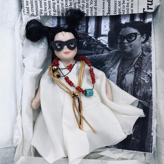 A package arrived here wrapped in newsprint and tied with a pink bow. And inside was this black and white image taken by a friend at a party — with this handmade doll replica of me. His attention to detail: cutting the glasses, stringing the tiniest beads and layering them with the leather necklaces over the hand-stitched caftan, and tying the miniscule elastics on the buns. Wow. ✨👊🏼✨ This special gift is a reminder today more than ever: we are — each one of us — unique in this world. And at Rancho, we celebrate that everyday. We all have our own styles, our own beliefs, our own values, our own voices. I feel powerful today because I used mine for good. Your voice always matters. #vote