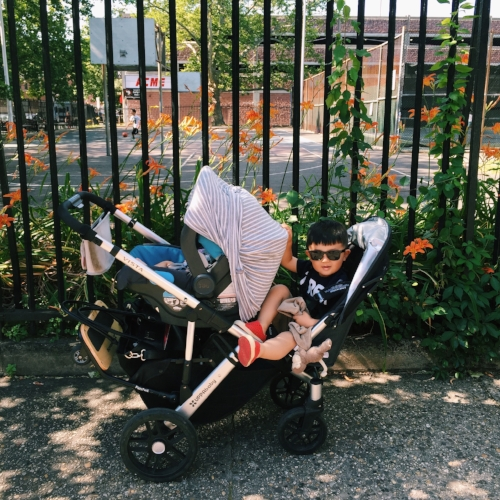 For city life this stroller was a life saver: two kids in tow with space for my diaper bag and a bag of groceries.