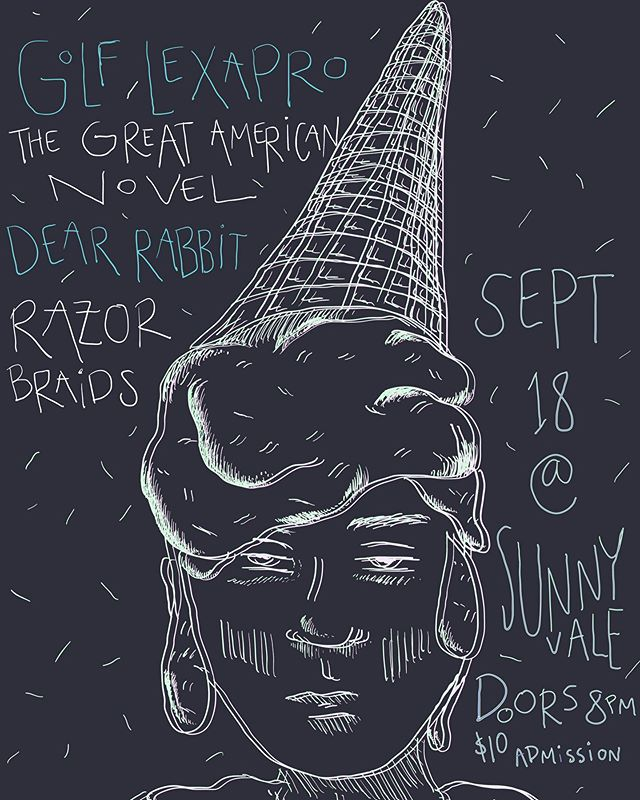 TOMORROW we play @sunnyvalebrooklyn at 8pm sharp! Come have an after-work beer with us and enjoy some damn tunes🍻 Poster by @janiepeacock 😎 . . . #razorbabes #razorbraids #septembergurls #livemusic  #femme #musicians #icecream #iscream #femalemusicians #band #brooklyn #brooklyn #nyc #rock #punk #garage #postpunk #newwave