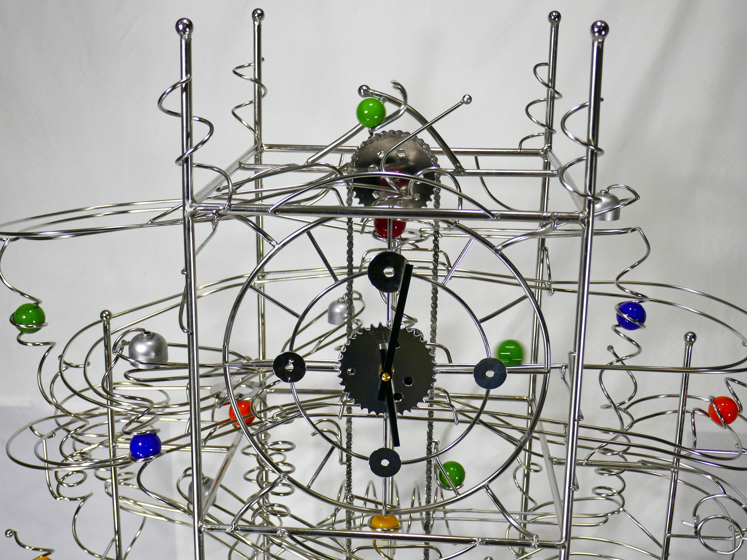 Rolling Ball marble run kinetic art by Stephen Jendro front view - Stephen Jendro