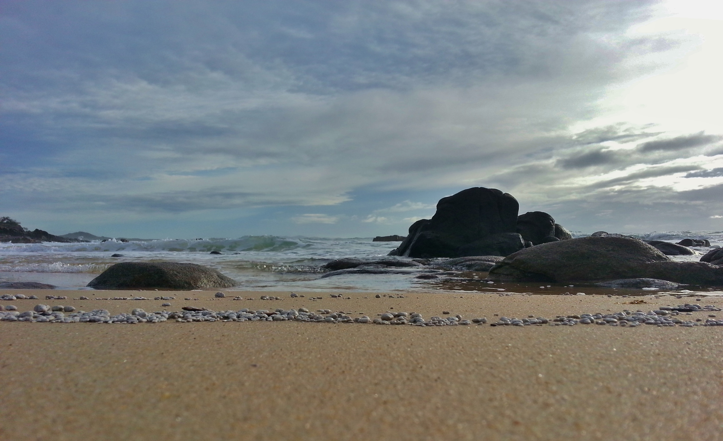 Small pebbles mark the tideline - Sunshine Coast Australia