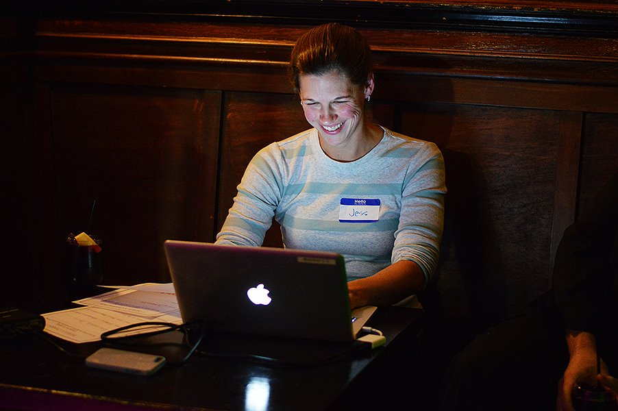 Playwright Jess Foster participating in Scriptpocalypse at the 2014/2015 Season Launch Party