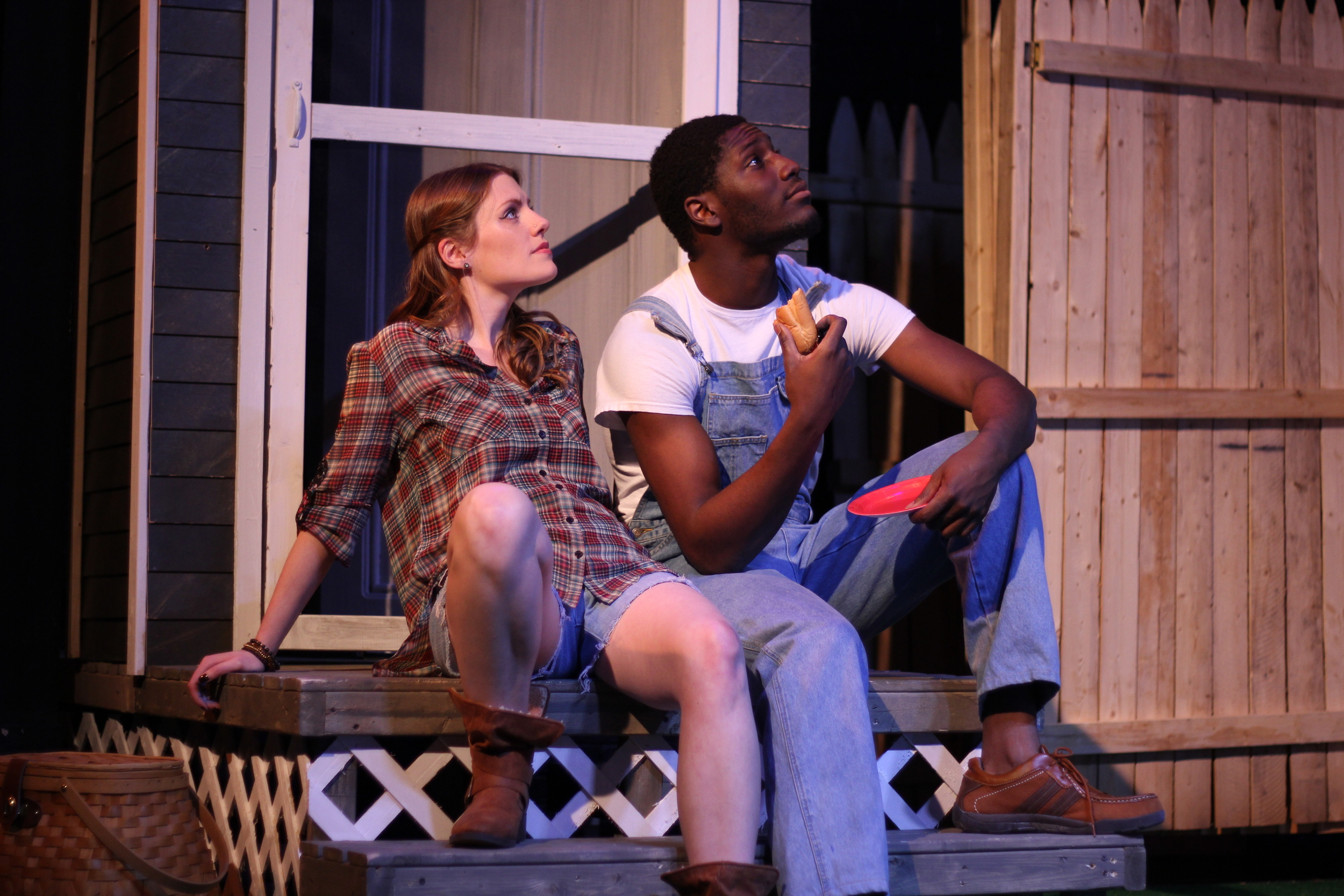 Sheldon Brown as Adams and Louise Hamill as Talia; Photo by Jessie Baxter