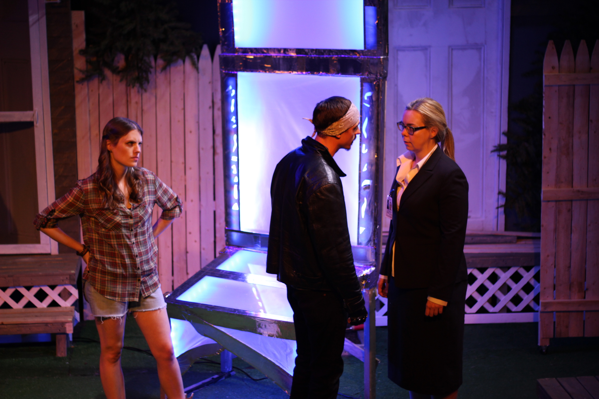Louise Hamill as Talia, Michael Knowlton as Blake, and Gillian Mackay-Smith as Melanie; Photo by Jessie Baxter