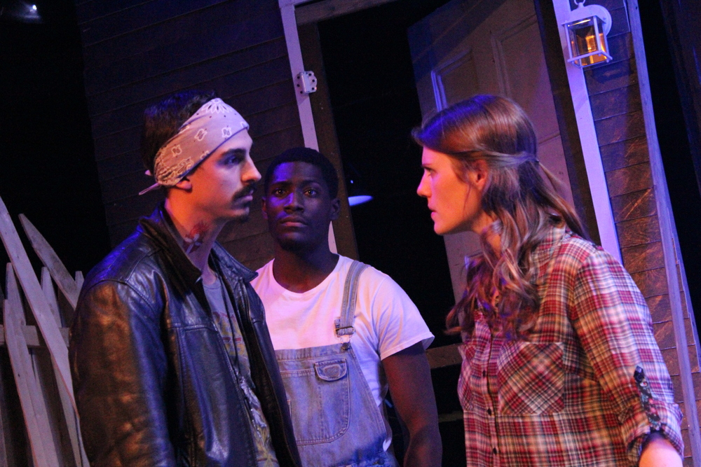 Michael Knowlton as Blake, Sheldon Brown as Adams, and Louise Hamill as Talia; Photo by Jeff Mosser