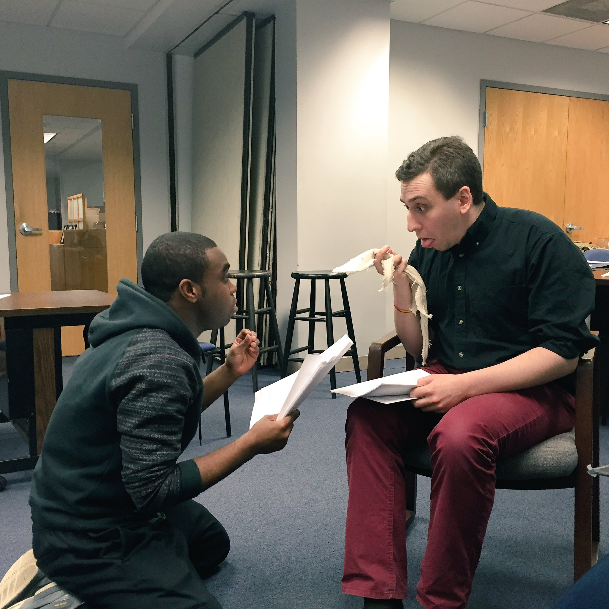 Actors Marc Pierre and Noah Simes in rehearsal for  That Time the House Burned Down  by MJ Halberstadt, 2016