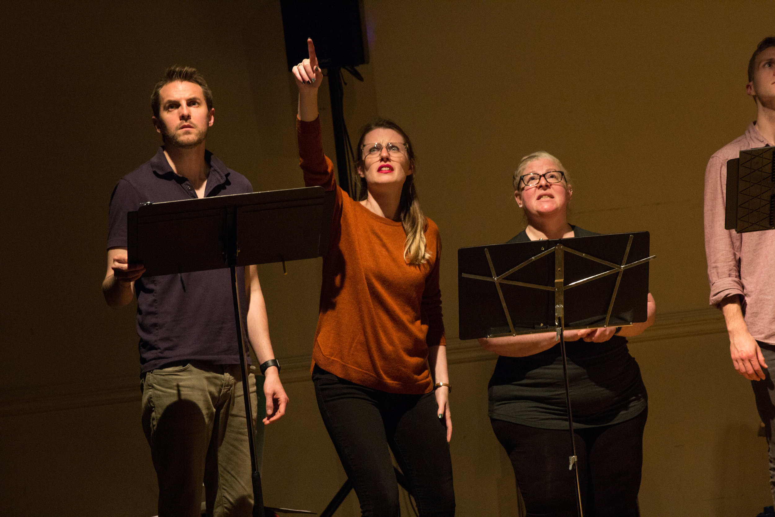 Ensemble members Matt Ryan, Louise Hamill, and Lynn Wilcott