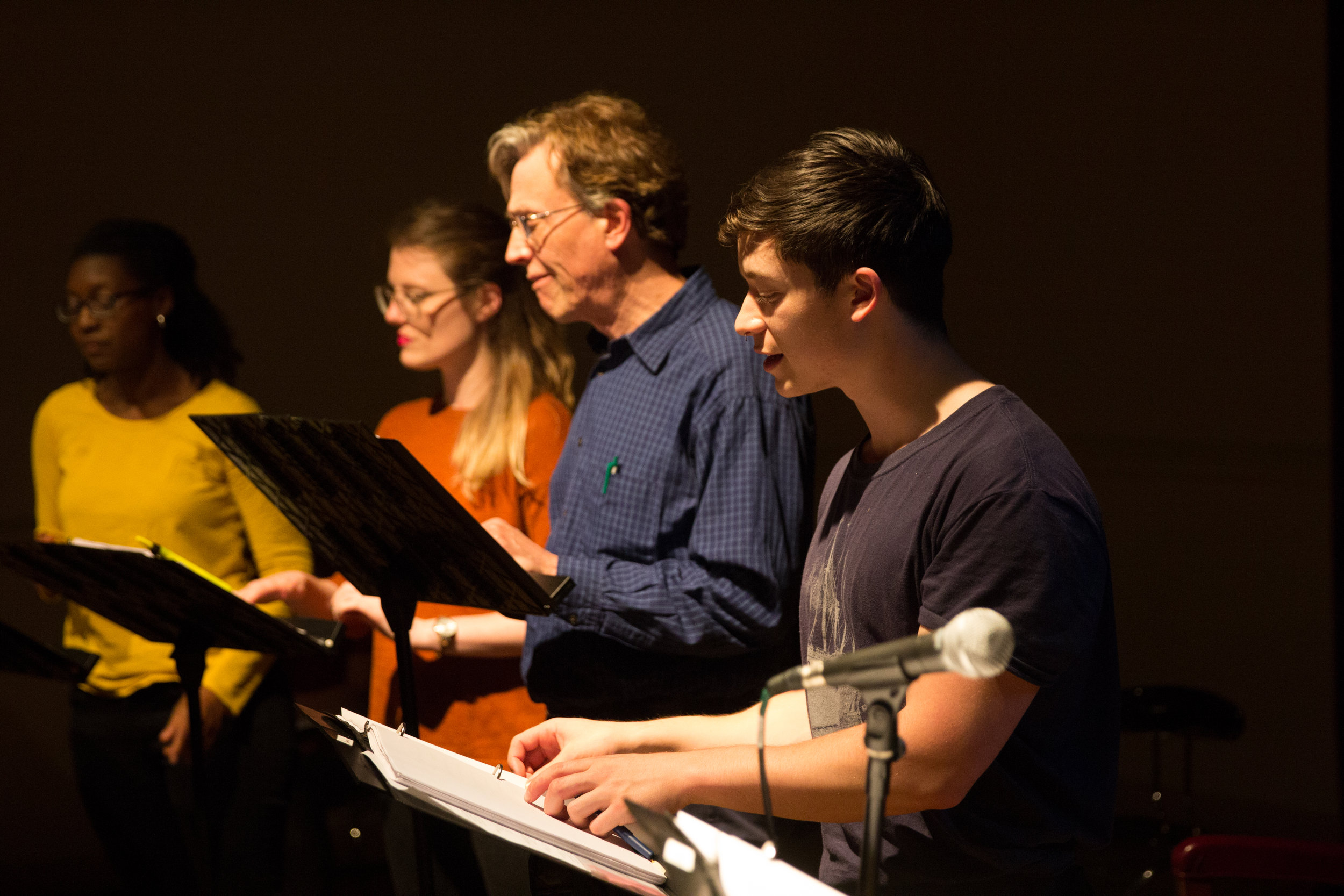 Ensemble members (R to L) Quentin Nguyen-duy, Phil Thompson, Louise Hamill, and Blyss Cleveland