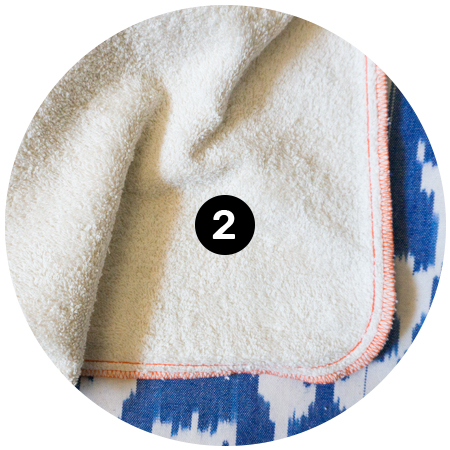 2. Looped Cotton Terry Cloth - The bottom layer is 400 GSM looped, heavy weight cotton terry cloth which makes the towels extra plush and absorbing.