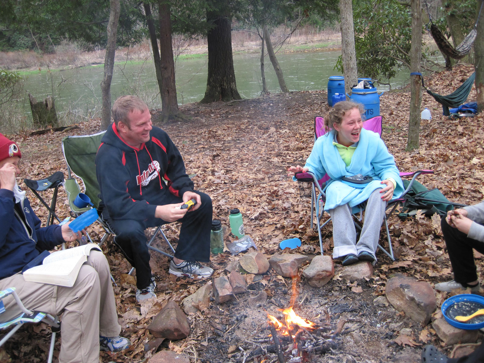 Lots of laughter around the campfire.