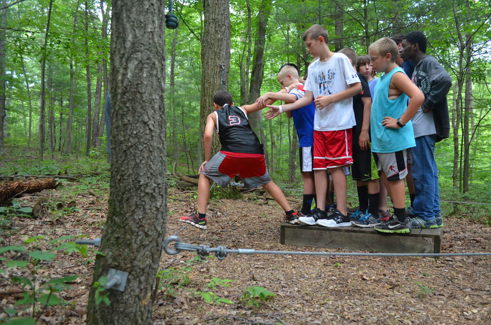Camp Hebron offers many activities like the Low Challenge Course