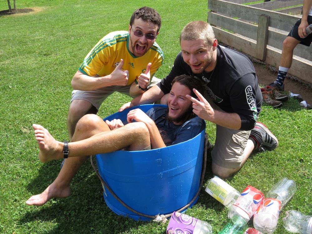 Jonathon, Joe & James making bottle rockets even more fun