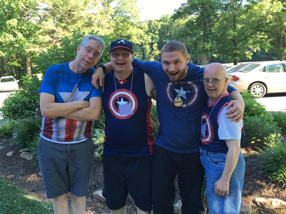 James bonding with Shalom Campers, Adults with Special Needs