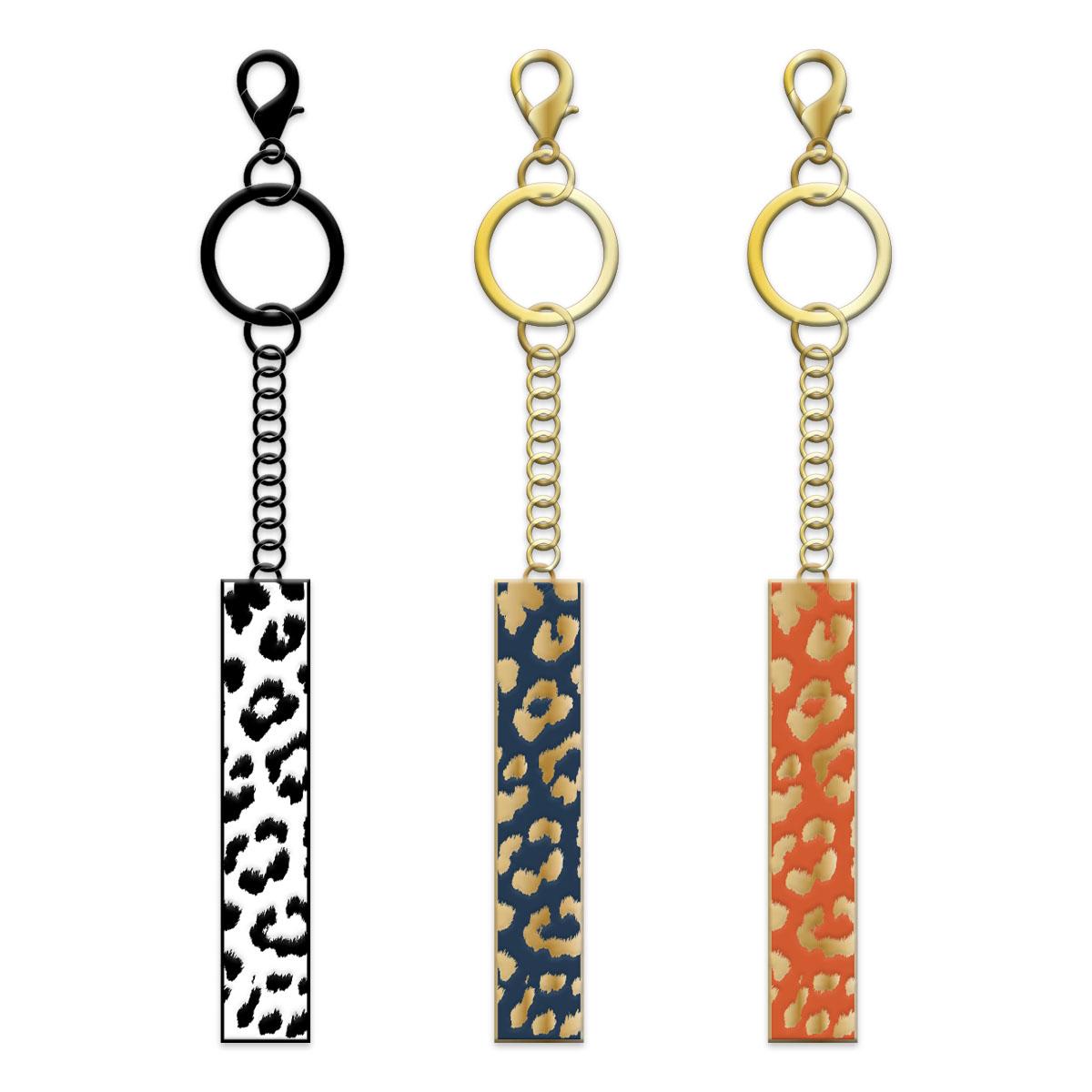 Monochrome Leopard Keychain