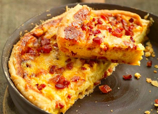 Classic Quiche Lorraine - rich custard, cheese and bacon