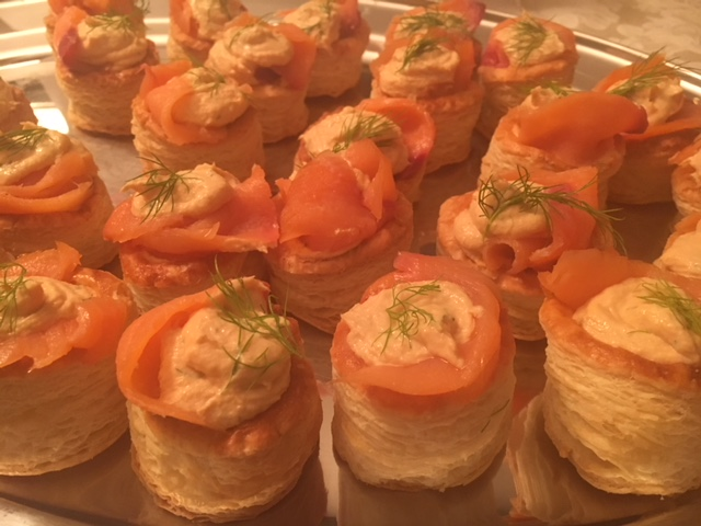 Smoked salmon and salmon mousse Vol Au Vents. Classic chic for your next amazing cocktail party.