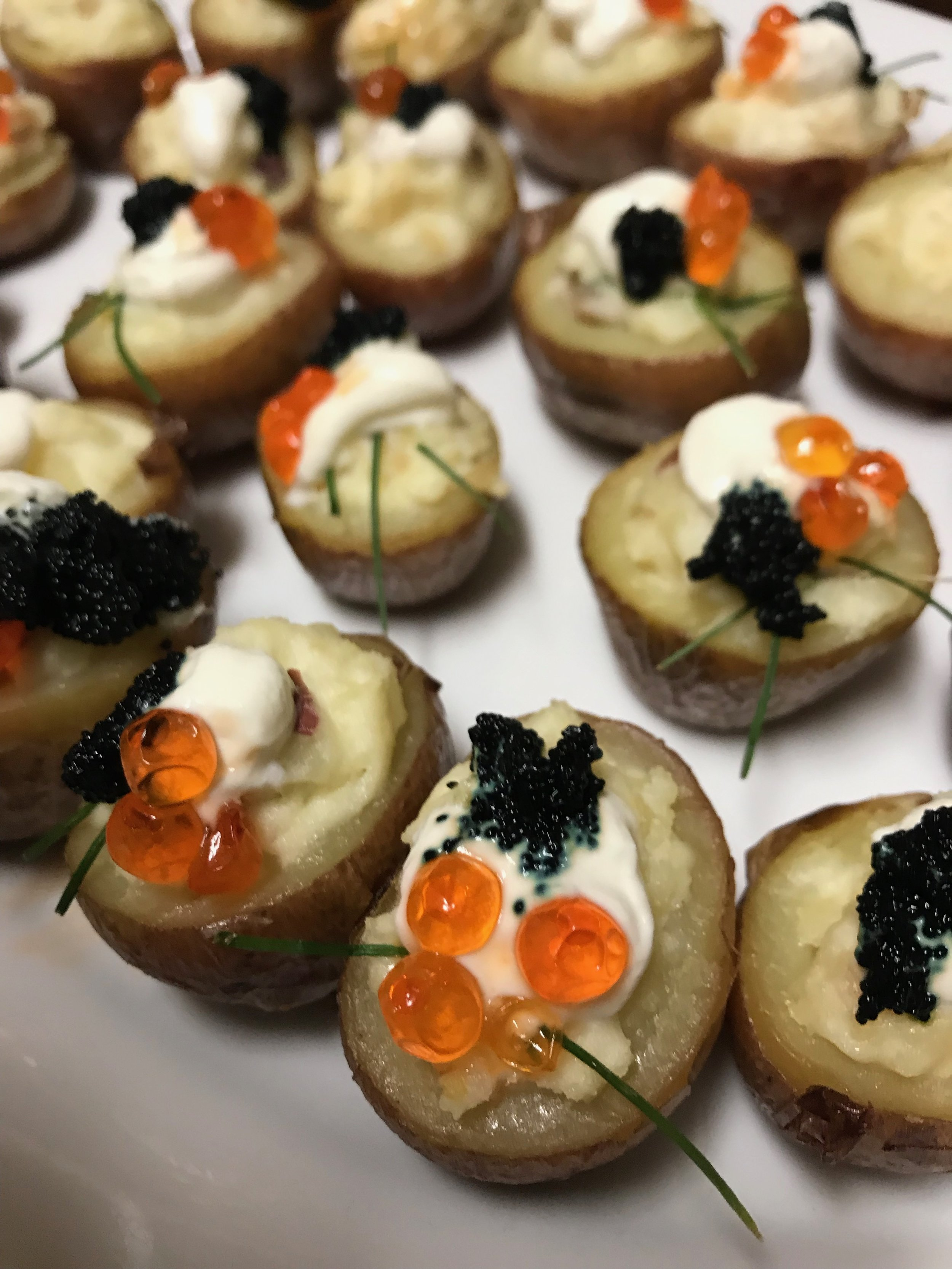 New potatoes Duchesse with NW Echo Falls Salmon caviar and Icelandic Capelin caviar