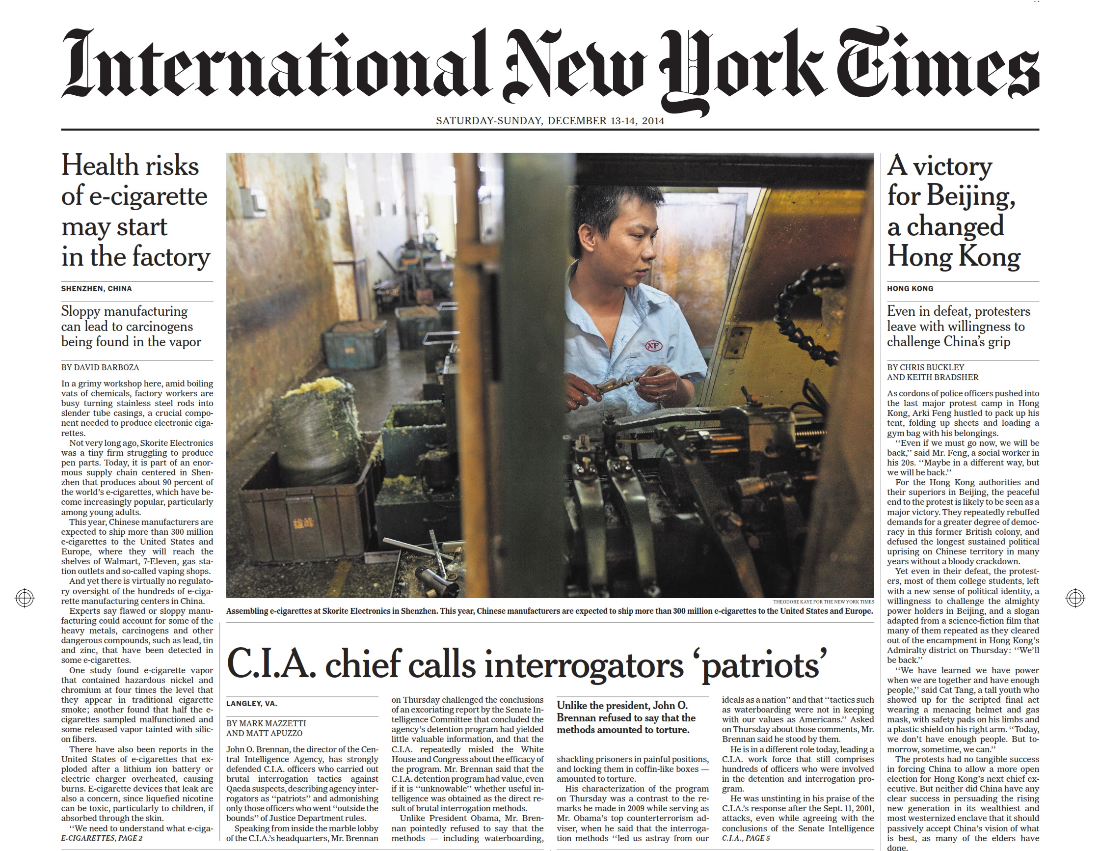 Page 1, International New York Times. December 13, 2014. Feature on E-cigarette production in Shenzhen, China