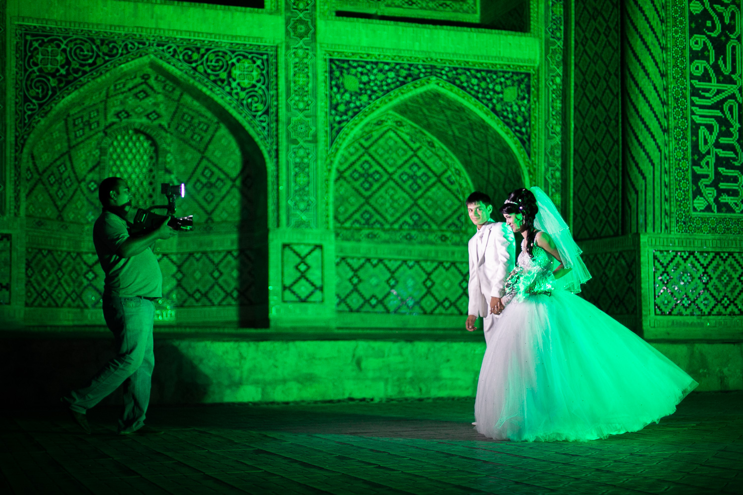 Wedding couple in Bukhara, Uzbekistan