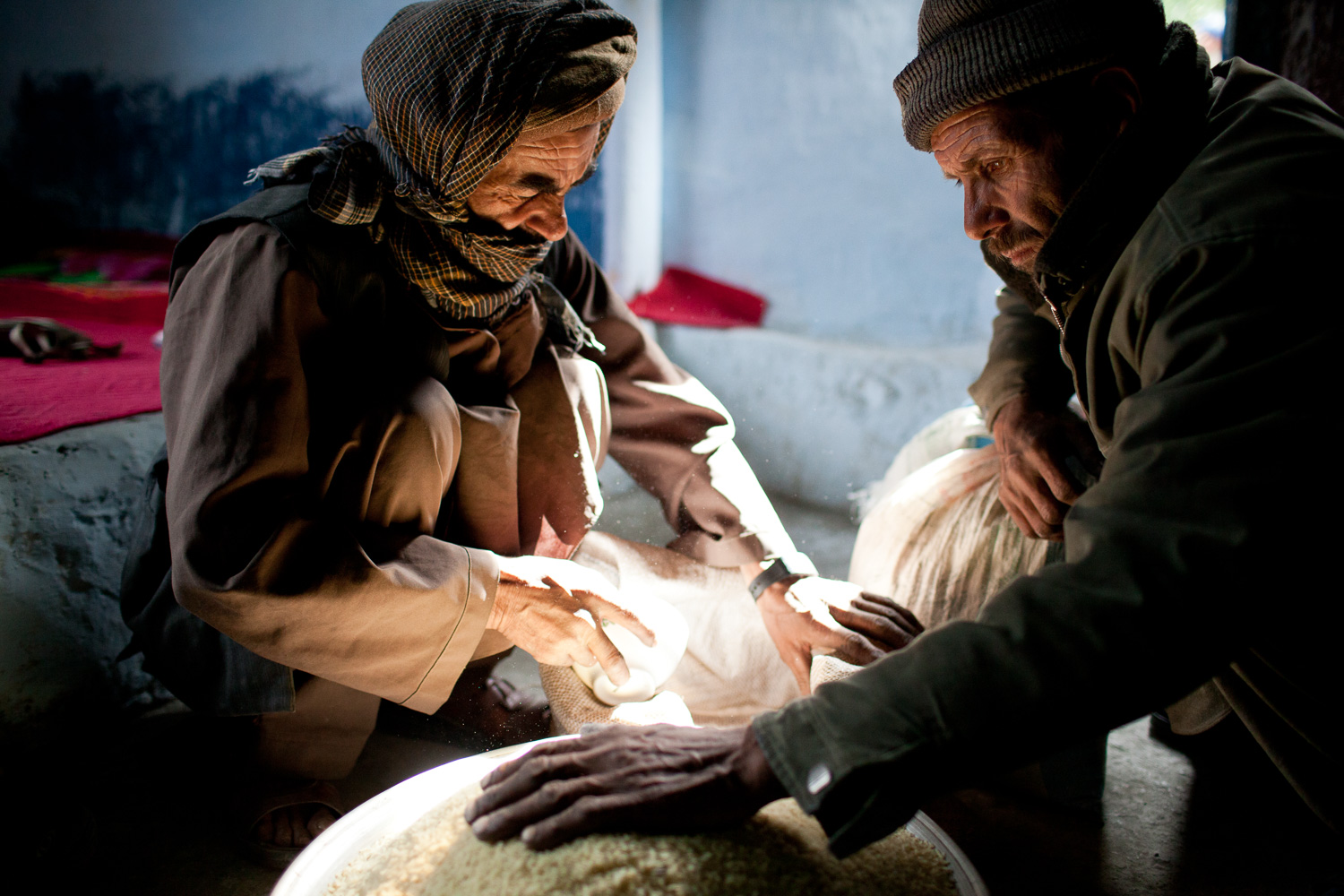 Rationing out rice in Badakhshan, Afghanistan