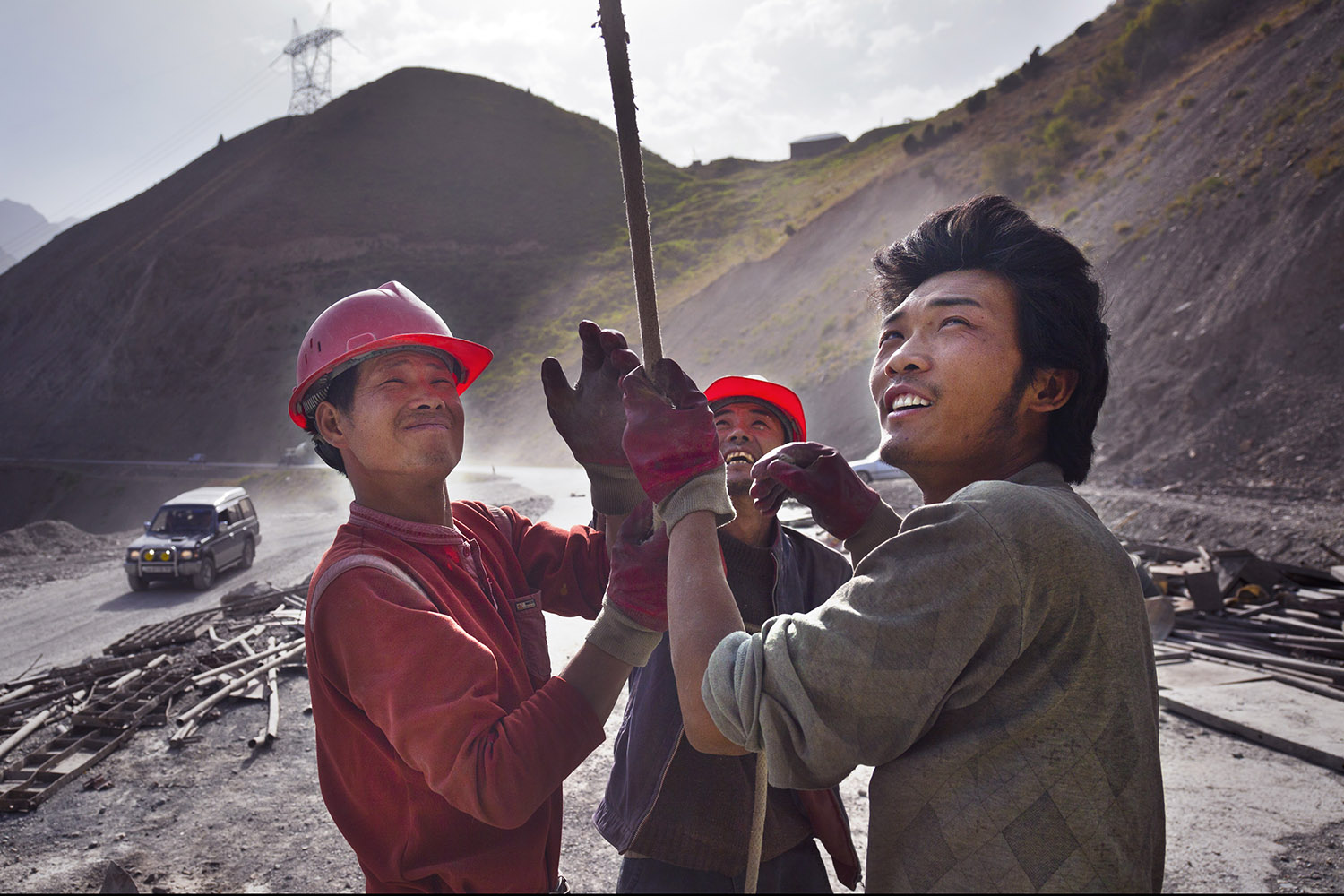 Chinese migrant laborers building a road in northern Tajikistan