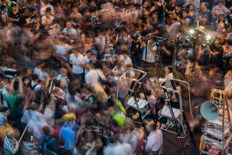 Press conference atOccupy Central, Nov 2014. Hong Kong