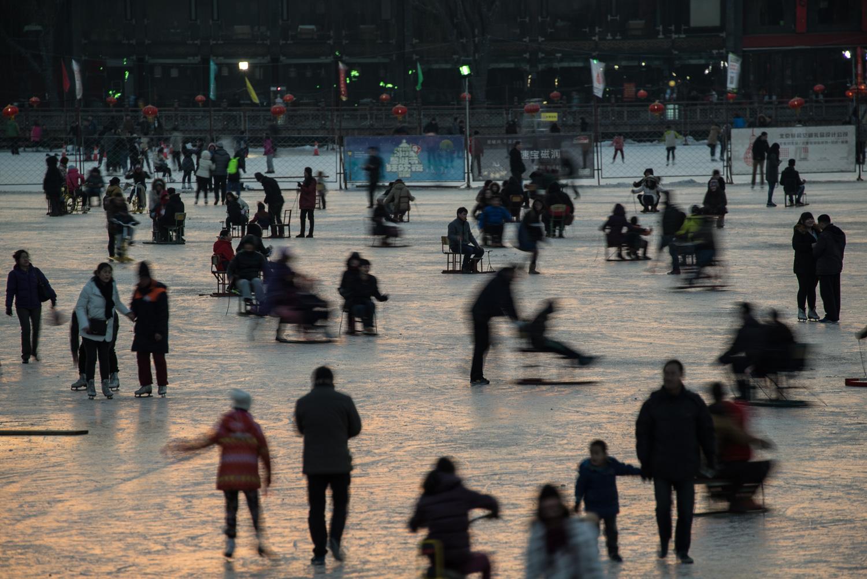 Ice skating in Beijing, China