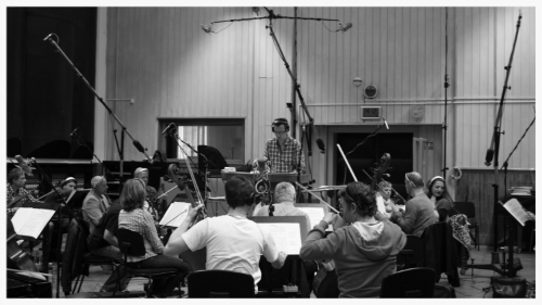 Recording 20 piece string section in Smecky Studios, Prague, May 9th 2014.