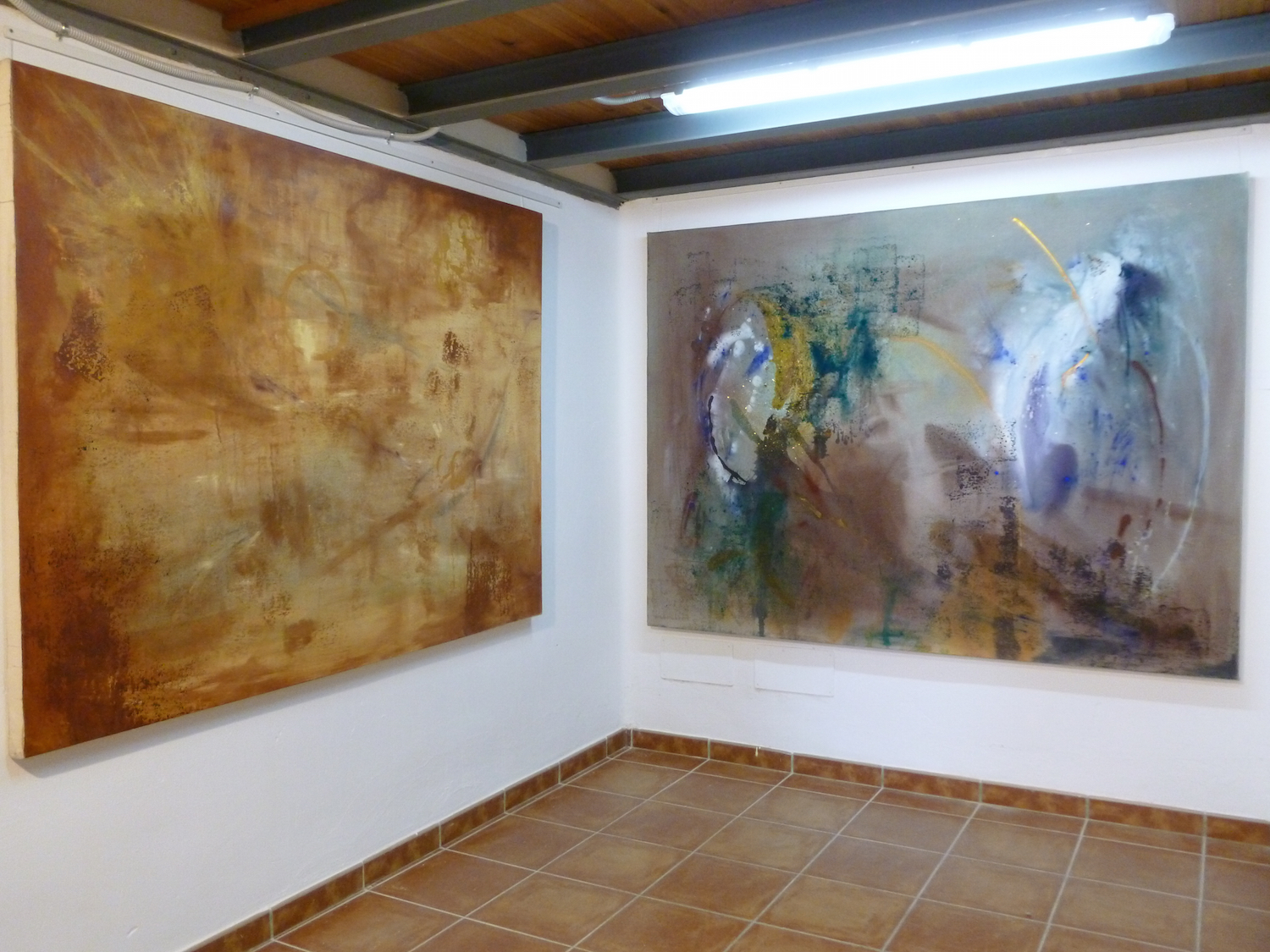 The Circle (left) and Painted Ladies (right)  mixed media and acrylic on canvas 200 x 150cm  Corinna Boughton