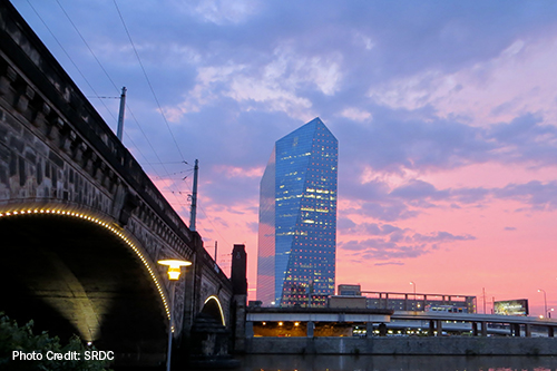 Cira Centre with pink sky background.