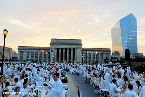 Dinner in White at 30th Street Station on JFK Boulevard.