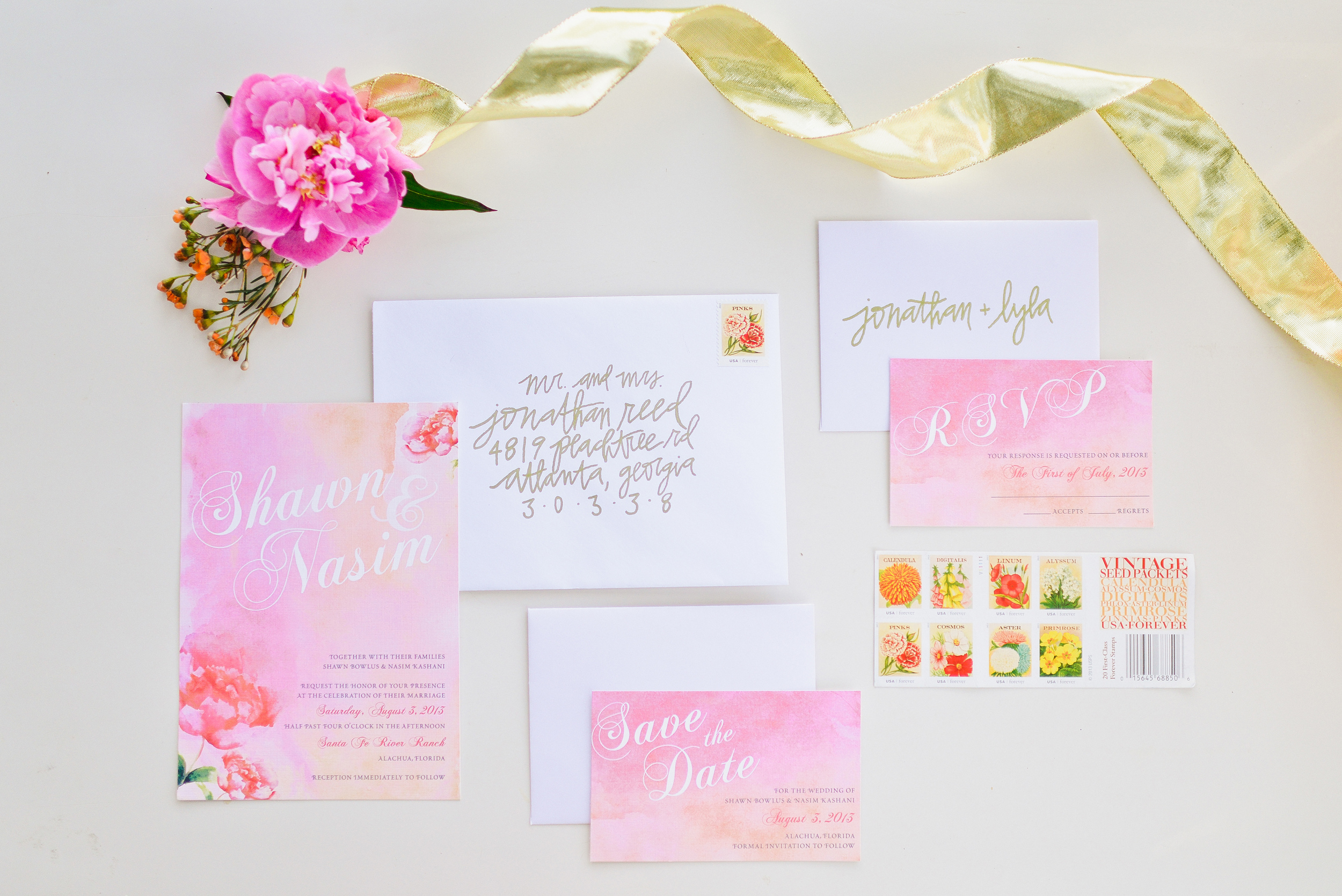 Wedding Invitation, RSVP Card, Save the Date for Watercolor Wedding