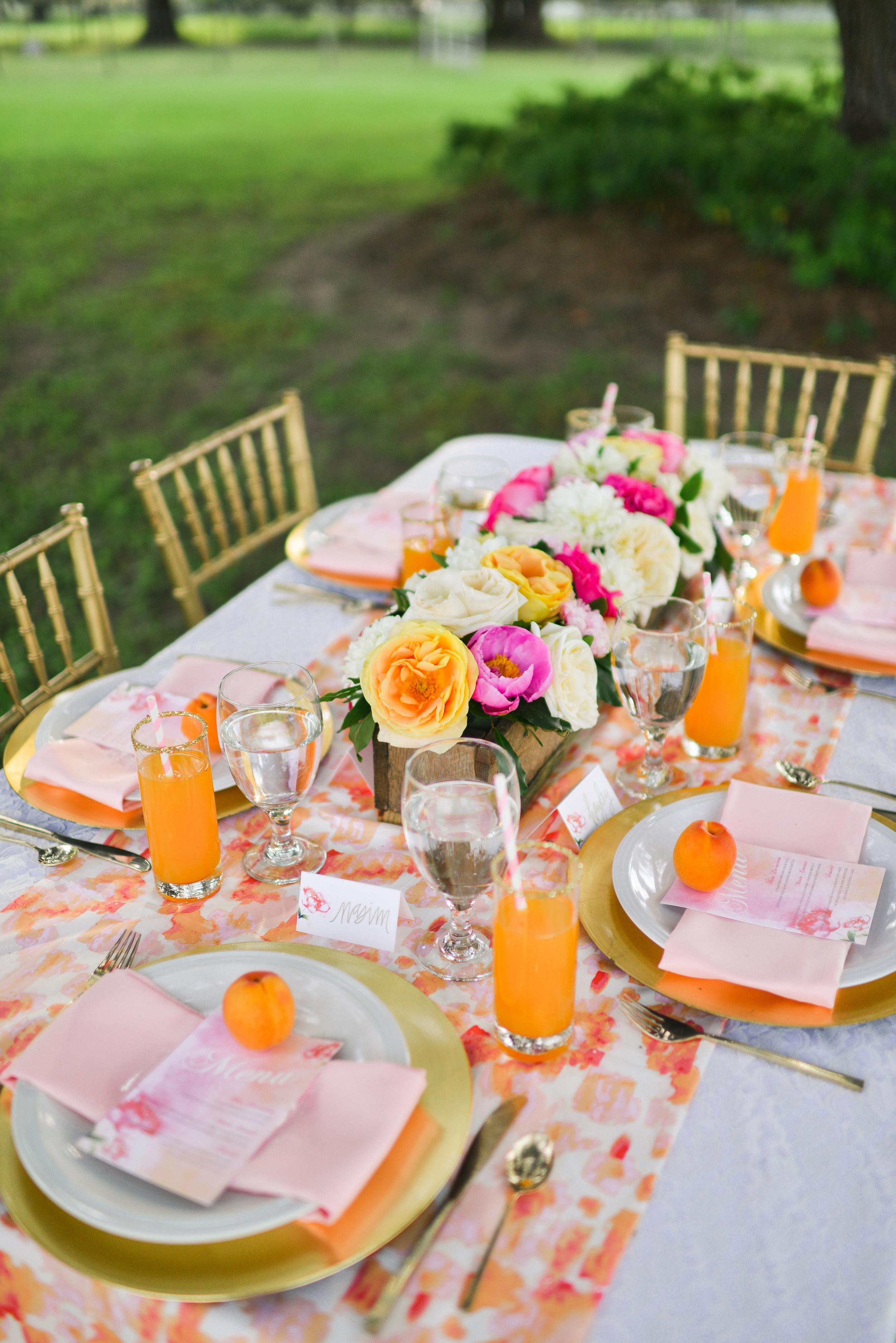 Reception Menu for Watercolor Wedding