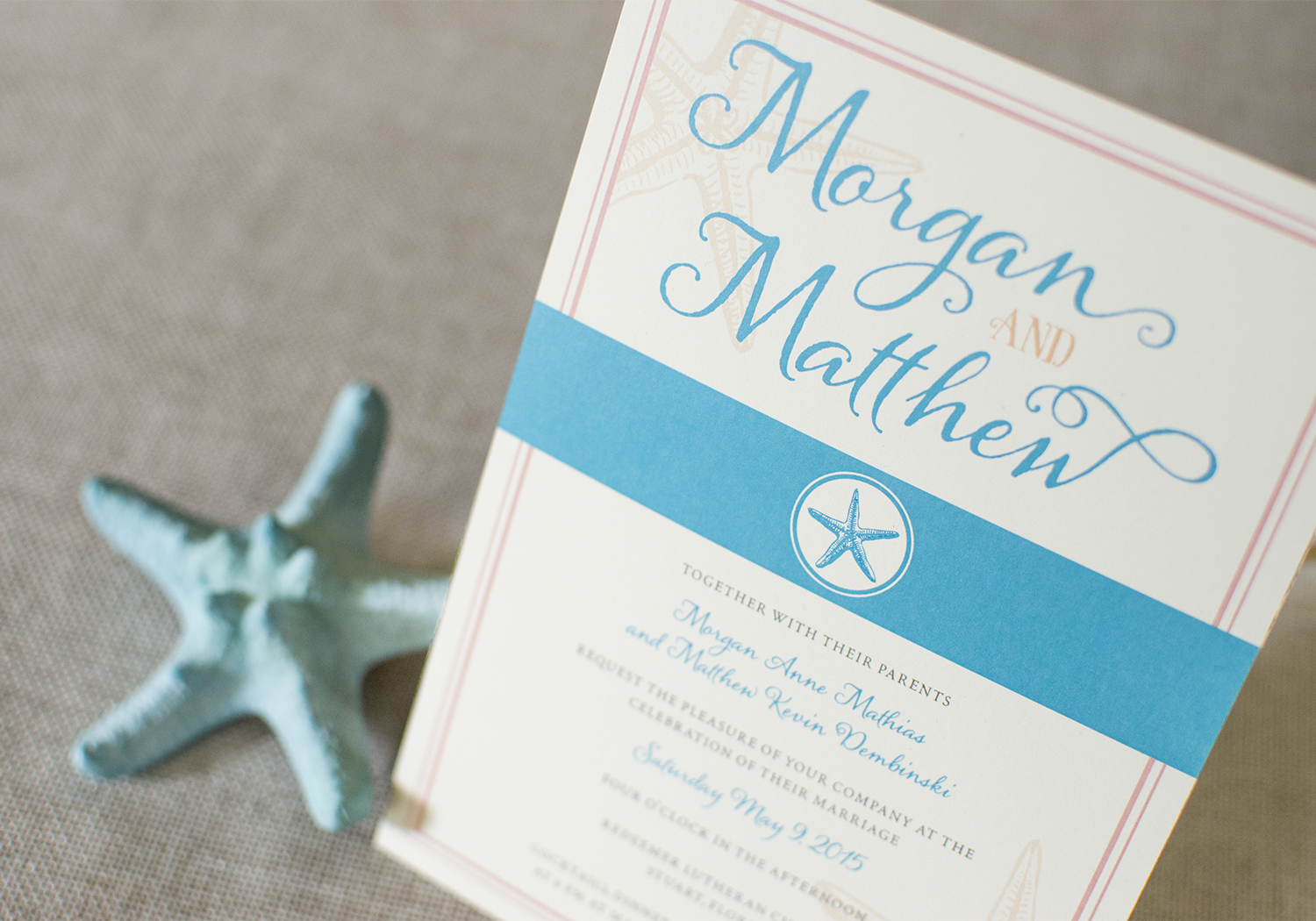 Coastal Beach Wedding Invite