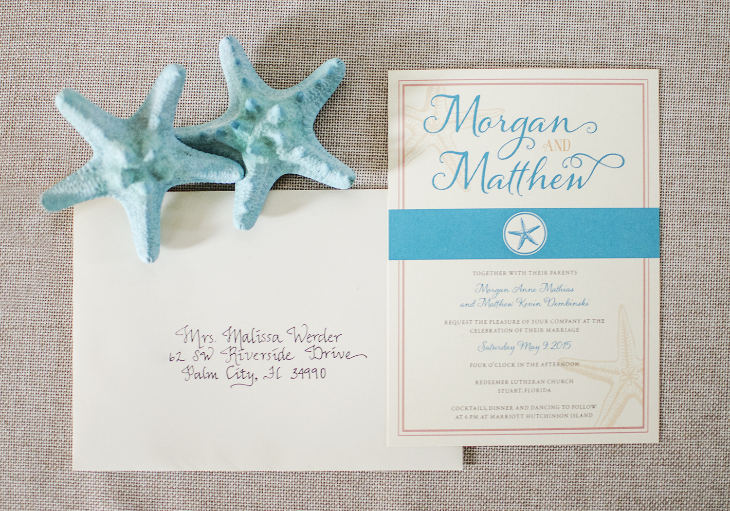Calligraphy and Starfish Wedding Invitation