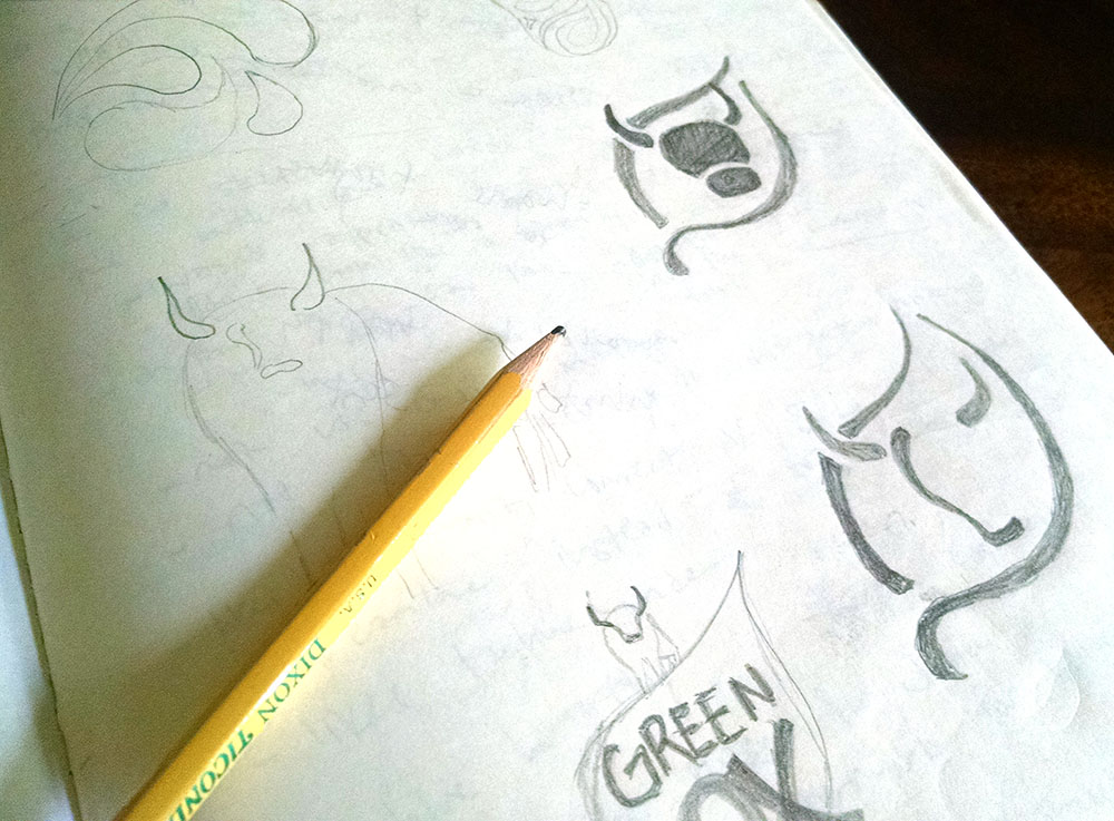 Initial sketches for Green Ox cleaning product logo.