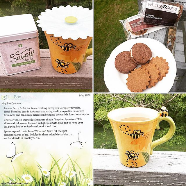 Probably the tastiest #teaboxexpress yet! The Lemon Berry Ballet green tea from @savoytea is amazing & my new, favorite flavor. The delicious shortbread cookies from @whimsyandspice are great alone, but better dipped in tea. And the silicone drink cover from @charles_viancin is practical & adorable. If you haven't subscribed yet, I'm really not sure what you're waiting for!