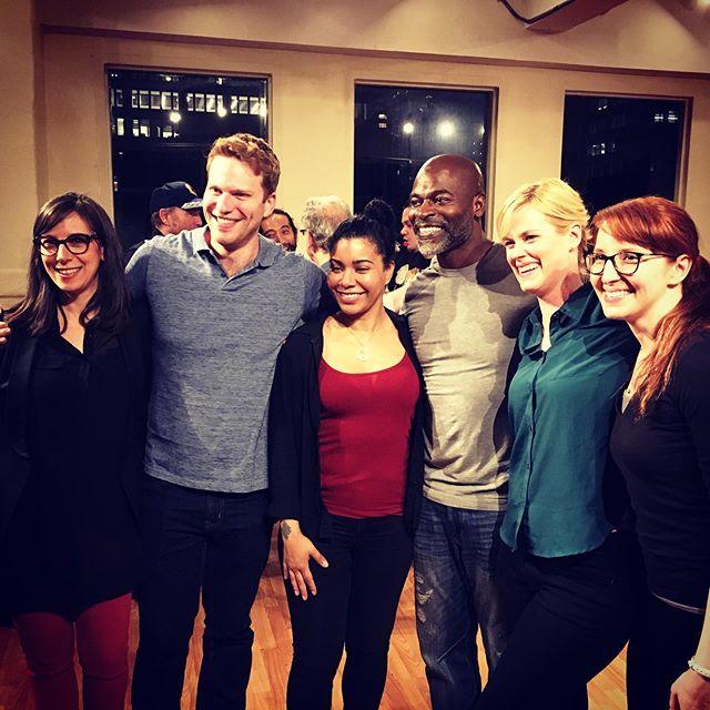 "2019 ""Jasper"" Reading, presented by Yonder Window Theater. L to R: Katie McHugh (director), me (playwright), Jessica Pimentel (Andrea), Hisham Tawfiq (Drew), Abigail Hawk (Shayla), Leigh Adel-Arnold (asst. producer)."