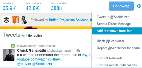 create a twitter follow list
