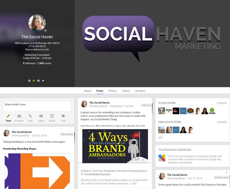 Social Haven Google+ page