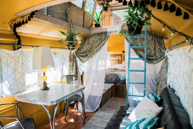 Birdsong : Bohemian Double Decker School Bus - $40 a night (open for summer season)2 guests, 1 bed, 2 shared baths near byClick here for Airbnb listing for booking
