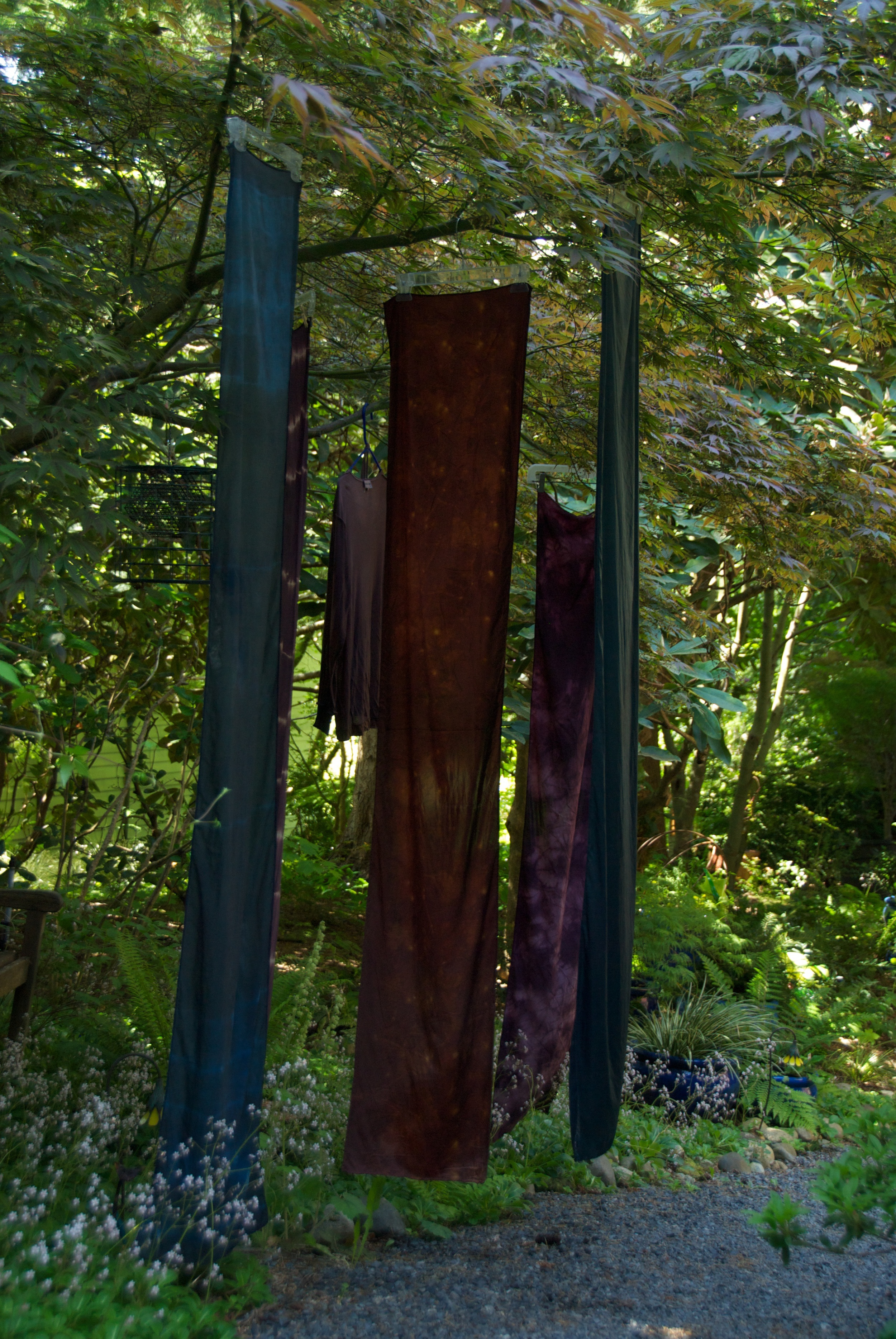 Shibori Dyed Items hanging to dry