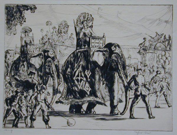 Etching of women in headdresses riding elephants with guides