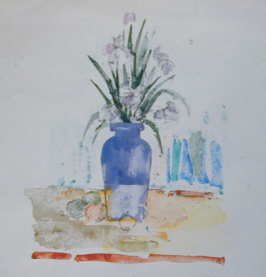 watercolor of purple vase with purple flowers on yellow table