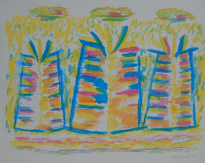 Abstract craypas drawing of blue shapes containing blue, pink, yellow, and orange lines with surrounding yellow markings