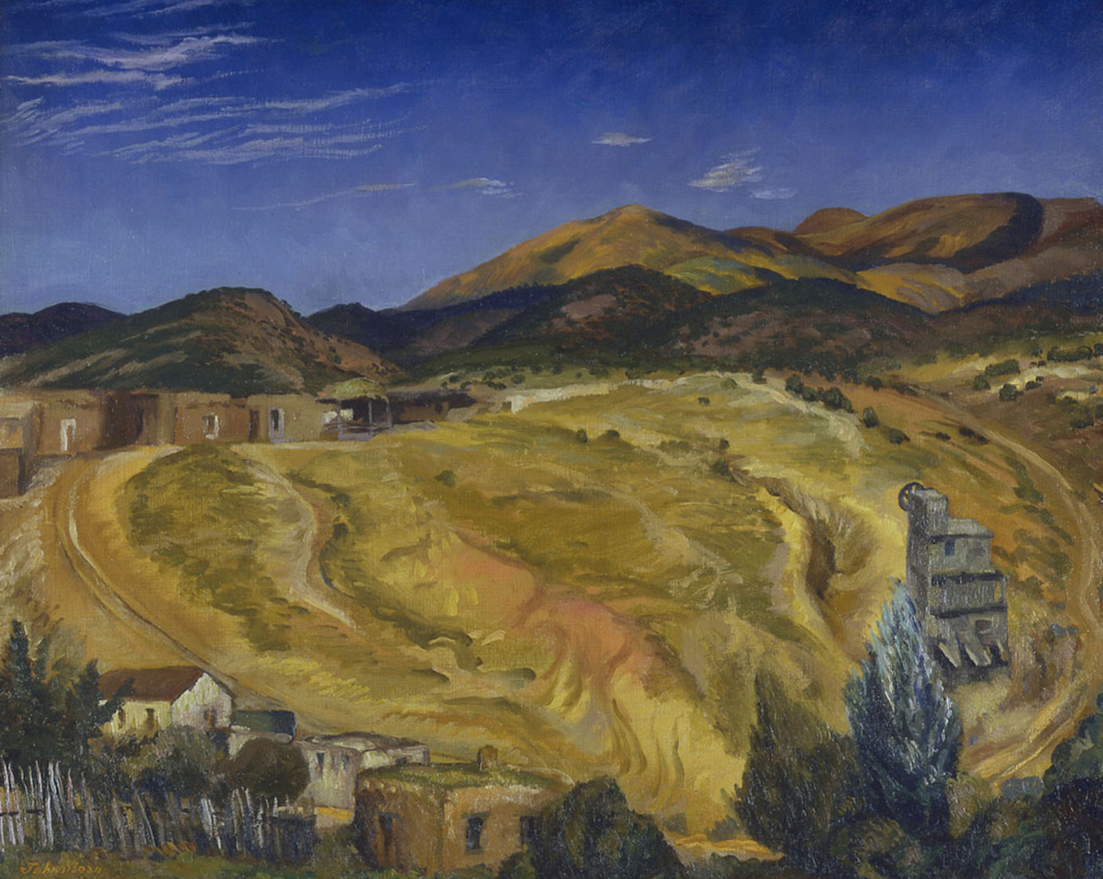 Painting of yellow field, mountains, houses in foreground, bright blue sky