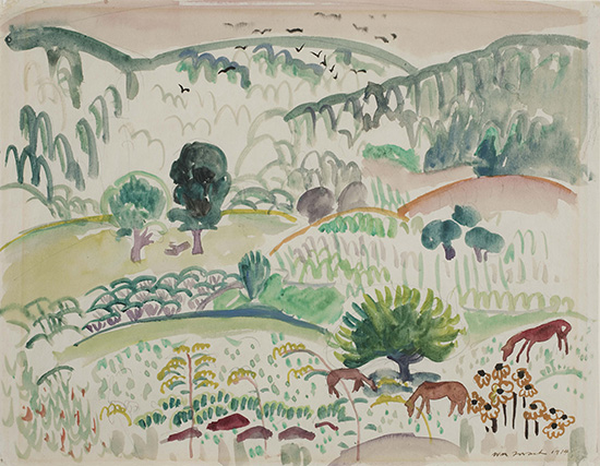 Watercolor of landscape with loose brushstrokes, horses in foreground, trees, and hills