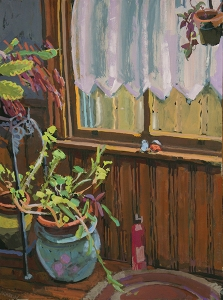 Painting of plants - on on table, one on floor, one hanging in window with curtain